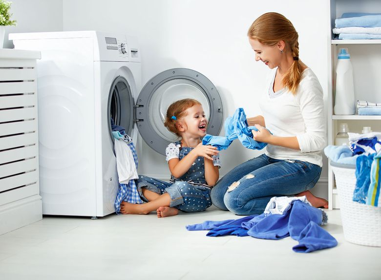Monther & Child in laundry room